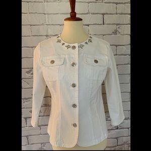 Hearts of Palm Embellished White Jean Jacket